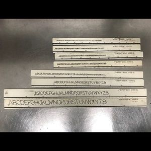 Vintage Drafting Lettering Set, Tools & Box.